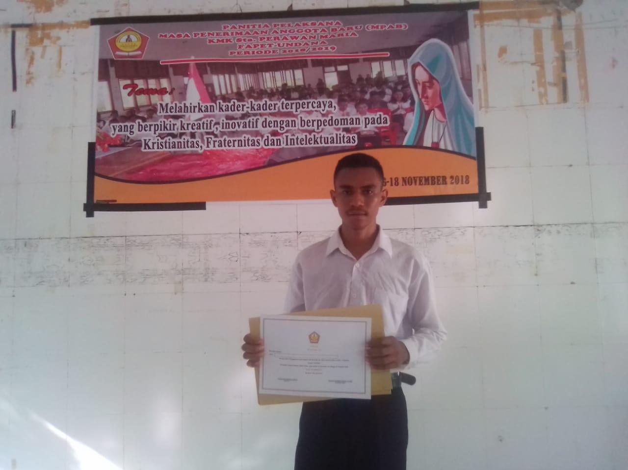 Vinsensius Rianto Menjadi Singa Podium KMK SPM Fapet Undana 2018
